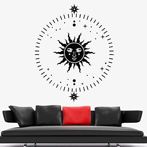 jiushivr Arte astratta Sole Stelle Adesivi murali Soggiorno Vinile Adesivo Camera da letto Design Decor Scuola Aula Decorazione Retro 57x70cm