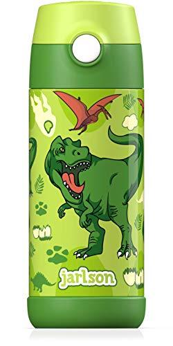 JARLSON® Trinkflasche Kinder / Baby - Thermo Edelstahl Wasserflasche 350ml - BPA frei - auslaufsicher - Kinderflasche mit Strohhalm - Flasche für Schule, Kindergarten (Dinosaurier)