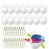 O-Kinee Huevos de Pascua, 24 Piezas Huevos Blancos Plásticos, Decoración de Pascua,...