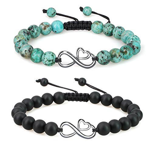 coai Geschenkideen Liebe Armbänder aus Afrikanischem Türkis und Mattem Onyx mit Ewig Zeichen Freundschaftsarmbänder Infinity Charm