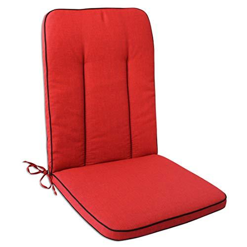 OUTLIV. Polsterauflage MBM Romeo/Rosanna Elegance Gartenstuhl Hochlehnerauflage 109x48 cm Sitz- Rückenkissen Rot Sitzauflage Gartensessel