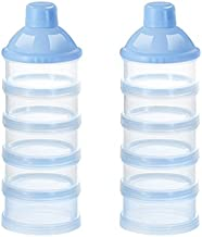 Accmor Baby Milk Powder Formula Dispenser, Non-Spill Smart Stackable Baby Feeding Travel Storage Container, BPA Free, 5 Compartments, 2 Pack