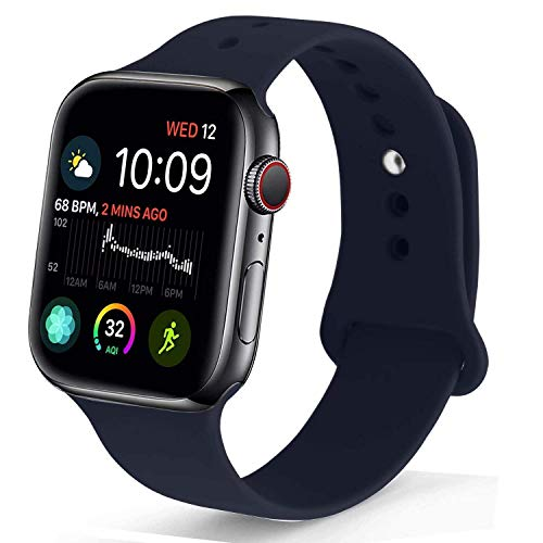 NUKELOLO Sport Band Compatible with Apple Watch 38MM 40MM,Soft Silicone Replacement Strap Compatible for Apple Watch Series 4/3/2/1 [S/M Size in Midnight Blue Color]