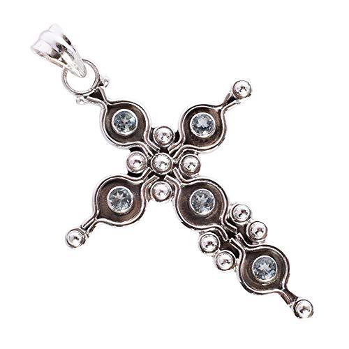Colgante con diseño de cruz de topacio azul impresionante, joyería de plata de ley 925, regalos para mujeres, el mejor precio FSJ-3123