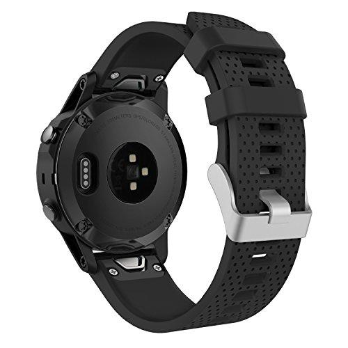 MoKo Armband für Fenix 6S / Fenix 6S Pro/Fenix 5S Sportuhr - Silikon Sportarmband Uhr Band Strap Ersatzarmband Uhrenarmband Smartwatch GPS-Multisportuhr, Armbandlänge 135mm-215mm, Schwarz