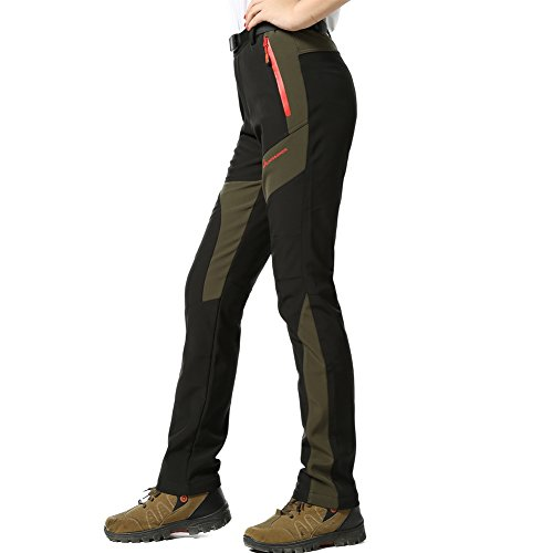 M.Baxter Pantaloni donna imbottiti soft shell pantaloni tecnici pantaloni da montagna pantaloni da trekking impermeabili + traspiranti + caldi + elasticizzati pantaloni donna da escursione pantaloni invernali pantaloni outdoor autunno inverno, nero, EU XL