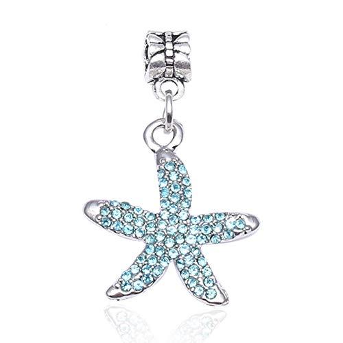 HGFJG 2Pcs/Lot Shiny Crystal Starfish Beads Charm Pendant Fit Bracelets Bangles For Women Making Fashion Diy