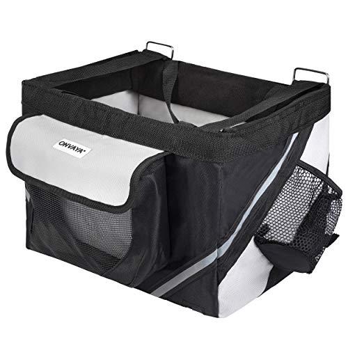 ONVAYA® Fahrradkorb für Hunde | Hundekorb für den Lenker vorne | Fahrradtasche in grau & schwarz | Frontfahrradkorb