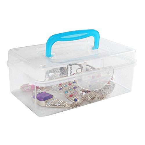 Multi Purpose Mini Clear Plastic Travel Storage Box/Portable Transparent Container Bin - Blue