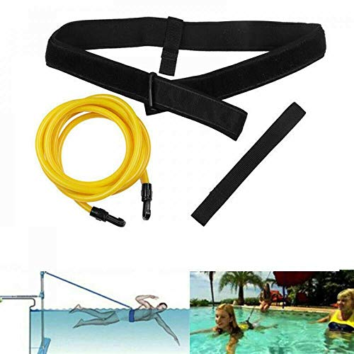 KOSONE Swim Training Belts, Swim Training Leash, Swim Bungee Training Belt, Swim Tether Stationary Swimming, Swim Harness Static Belt, Swim Bungee Cords Resistance Bands (Yellow (6MM9MM4M))