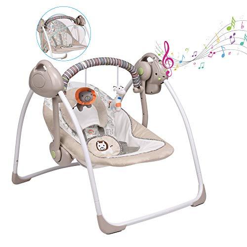VASTFAFA Columpio para bebé / sillón reclinable eléctrico compacto, 6 velocidades de columpio, vibraciones relajantes, 16 canciones suaves y lindos juguetes para acompañar al bebé (caqui)