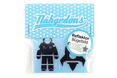 Nhgedns.de Astronauta y cohete | Juego de imgenes reflectantes para planchar | Reflector | Lmina reflectante para planchar | 5 cm negro