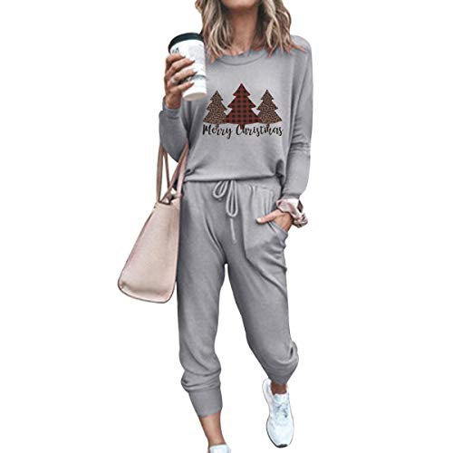 Sweat Suit for Women Set Casual Winter 2 Piece Outfits Sweatsuits Tracksuit Sport Outfit Matching Outfit Loungewear Merry Christmas Trees M
