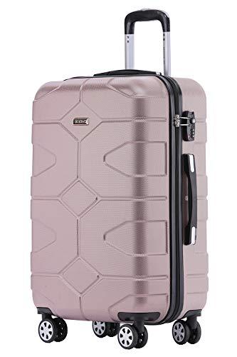 BEIBYE - TSA Schloß 2035 Hartschale Reisekoffer Koffer Handgepäck Trolley (Rosagold, L)