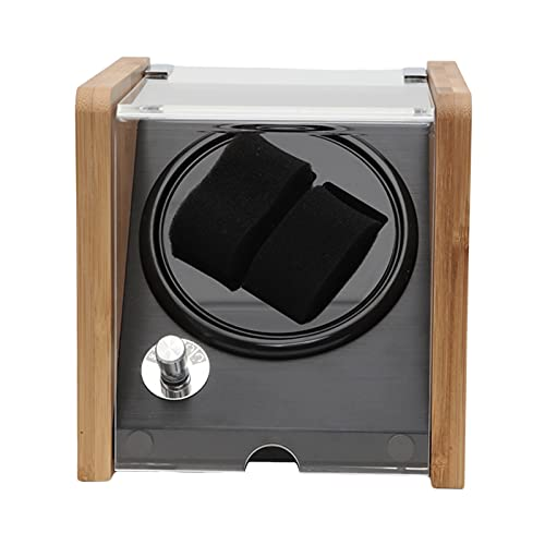 JINGGL Caja giratoria para Relojes Winder Winder Doble Winder Cubierta Transparente para 2 Reloj Negro (Color : Black)