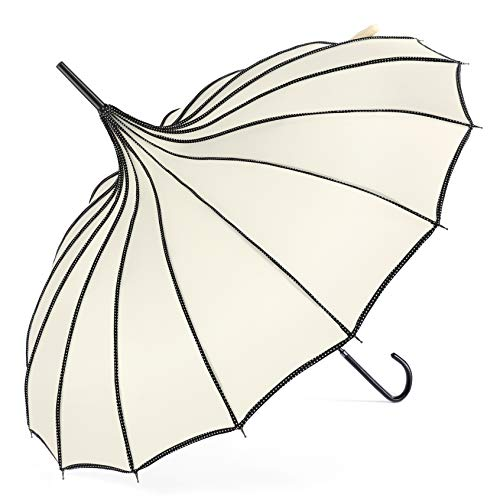 BABEYOND Pagoda Parasol Umbrella Vintage Wedding Bridal Decoration Umbrella for Photo Lady Costume (Apricot, Style-1)