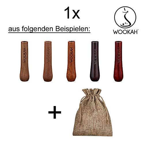 WOOKAH Small Wooden Mouth Tip - Holzmundstück (Hookah, Shisha, Wasserpfeife) + Stoffsäckchen im Jute-Look