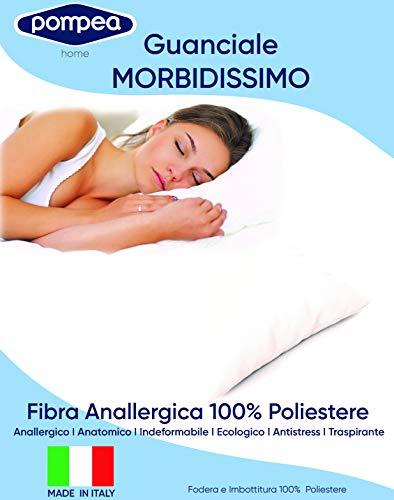 Pompea - Almohada clásica de fibra hipoalergénica - Funda de cojín 50% algodón y 50% poliéster - Fabricada en Italia