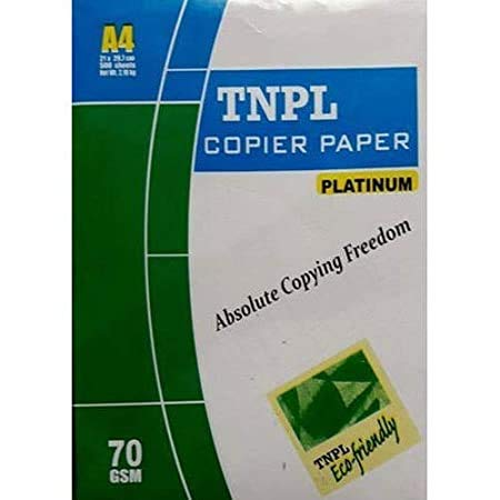 A4 TNPL Printing Blank Paper 500 SHEET (Clean White) 70 GSM A4 SIZE All Printer Accept This Paper Size A4 Printing Papers Best For Printer Home & Office