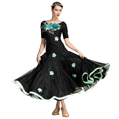 DRESSS Moderner Tanz-Rock gesticktes Kleid, Erwachsene Dame Lycra Short Sleeve Sexy Backless Costume (Farbe : Schwarz, größe : L)