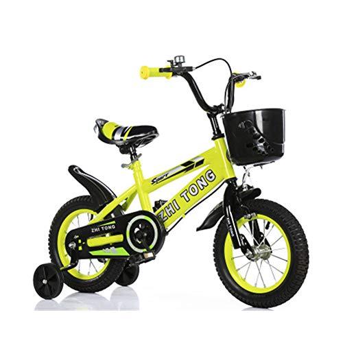 Baby Bicicletta per Bambini Ragazza Ragazzo 2-7 Anni Freestyle BMX 12 1416 18 Pollici Bicicletta Bambini con Le Ruote Bici per Bambini Nessun Sedile Posteriore,Giallo,16INCH