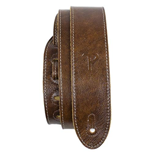 "Perri's Leathers Ltd Guitar Strap, 2"" Wide Deluxe Italian Leather, Super Soft Suede Backing, Adjustable Length, (Bm2-6554) Chestnut, Made in Canada"