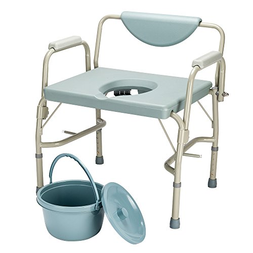 OMECAL Bedside Commode Chair 550 Lbs Heavy Duty Drop Arm Medical, Homecare Toilet Seat with Safety Steel Frame, 6 Quart Capacity Pail, Adjustable Height Support Tool-Free Assembly