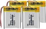 3.7V 602530 500mAh Polímero Batería de Litio Recargable Li-Ion Cell para micrófono MP3 GPS Reloj Inteligente Lectura Pluma Ratones inalámbricos-4 Piezas