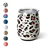 Swig Life 14oz Triple Insulated Stainless Steel Stemless Wine Tumbler with Slider Lid, Dishwasher Safe, Vacuum Insulated Travel Wine Glass in Luxy Leopard Print (Multiple Patterns Available)