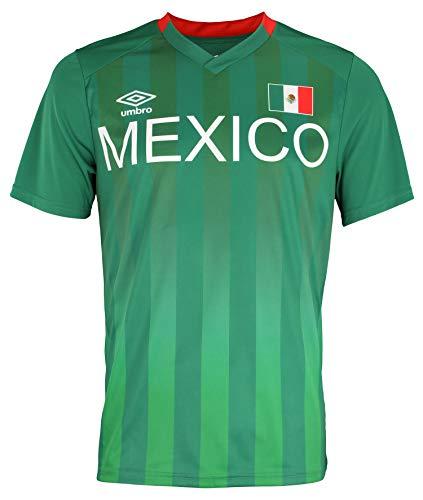 Umbro Men's Mexico Short Sleeve Vintage Soccer Jersey Shirt, Mex Green/White XXL