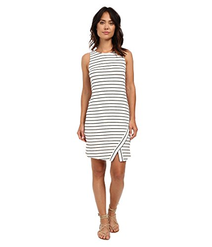 kensie Women's Light Weight Viscose Spandex Stripe Dress with Slit, White Combo, Medium