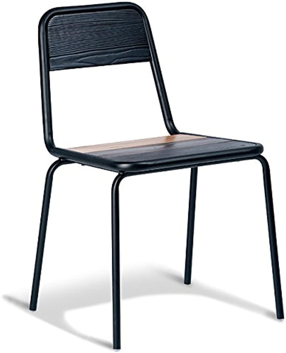 New Sam Industrial Flat Dining Chair - Black Frame - Brown Timber Seat