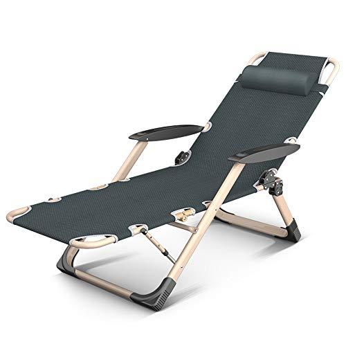 ZR- Liegestuhl Tragbar Einstellbar Klappstuhl Mit Kopfstütze Draussen Strandgarten Liegestühle Feldbett, Unterstützung 380lbs (Color : Gray)