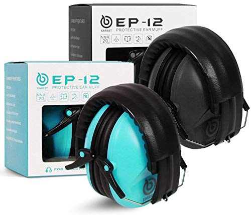 EAREST 2pcs Ear Protection Shooting Earmuffs, NRR 20dB Kids Noise Cancelling Ear Muffs for Sleeping, Studying, Hunting and Mowing, with Adjustable Headband and Carrying Bags - Blue & Black