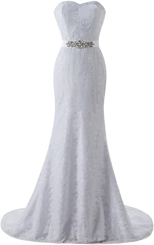 SIQINZHENG Women's Mermaid Wedding Dresses Sweetheart Long Lace Bridal Gowns