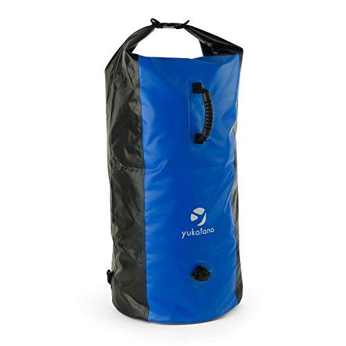 Yukatana Quintono 100 - Seesack, Packsack, Rollbeutel, Trekking-Rucksack, Travel-Reiserucksack, 100 Liter Fassungsvermögen, 2 Tragegurte, Henkel, Clip-Schnalle, blau-schwarz