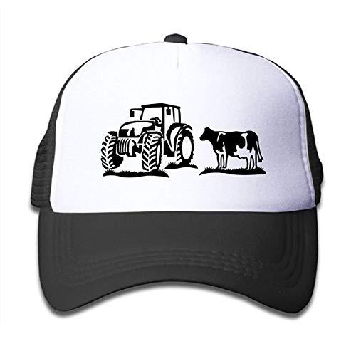 Reghhi Aiw Wfdnn Mesh Baseball Cap Der Traktor und die Kuh des Kindes klassisches justierbares nettes