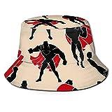 Sombrero de pescador Jojoshop unisex de superhéroe en diferentes posiciones de acción, sombrero de pescador, sombrero de sol, color negro