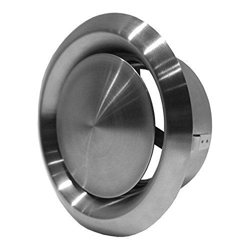 125mm Edelstahl Abluft - Tellerventil - Rund für Rohranschluss Ø DIN 125 mm