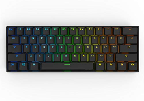 CORN Anne Pro 2 61 Keys Mechanical Gaming Keyboard 60% True RGB Backlit - Wired/Wireless Bluetooth 5.0 PBT Type-c Up to 8 Hours Extended Battery Life, Full Keys Programmable (Kailh Box Brown, Black)