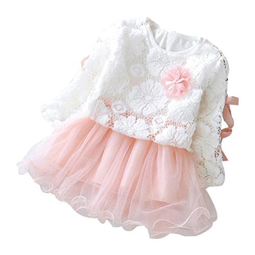 OVERDOSE Herbst Infant Baby Kinder Mädchen Normal Party Spitze Blume Tutu Prinzessin Kleid Kleidung Outfits(12-18 Monate,A-Rosa)