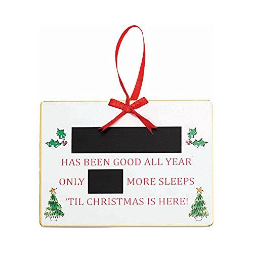 Suki Gifts Noël personnalisé Compte à rebours Tableau Noir – Plaque de l'Avent en Bois dort til Décoration de Noël