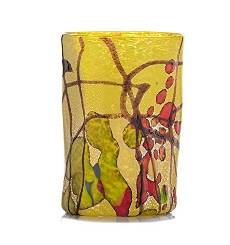 GOTO Vaso Único Coloreado Vidrio de Murano 300 mililitros, Hecho a Mano por un Maestro Vidriero Veneciano (Colección Pollock, Amarillo Limón)