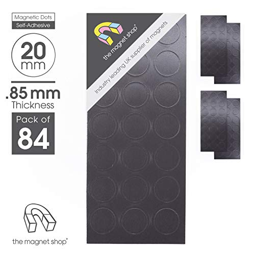adhésif AIMANTS POUR LOISIRS CRÉATIFS - magnétique Points cercles rond - 20mm diamètre (0.85mm épais) 84 PAQUET - Feu ARTISANAT activités (The Magnet SHOP)