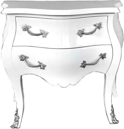 Casa Padrino Barock Kommode 80 cm Weiß/Silber - Möbel Barockmöbel