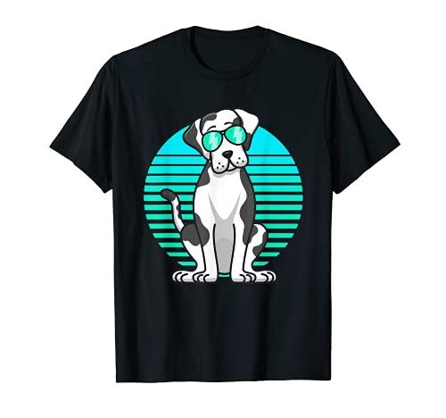 Retro Sunglasses Harlequin Great Dane Kids Boys Dog Lover Camiseta