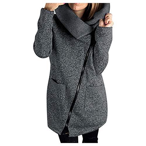 Top de manga larga para mujer, chaqueta informal con capucha, sudadera con cremallera larga, blusa para mujer, color liso, regalo de Pascua (gris oscuro-XL)
