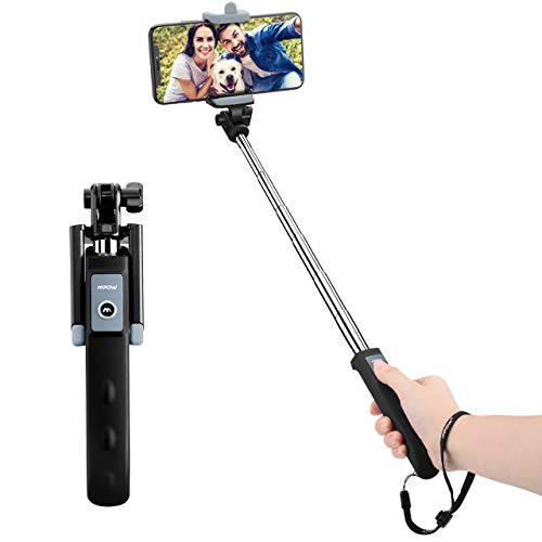 Bluetooth Selfie Stick, Mpow Extendable Monopod U-shape Clamp Phone Holder Built-in Remote Control Wireless Shutter for Travels, Family Entertainment, Friends photos-Compatible With iPhone 6s, 6s Plus, 5, 5c, LG G2, Huawei P9 and Other Android Cell Phones, Black