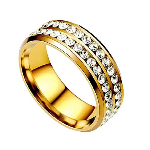 anillos, anillo de diamante de temperamento, circón doble con incrustaciones de acero inoxidable, adecuado para hombres y mujeres