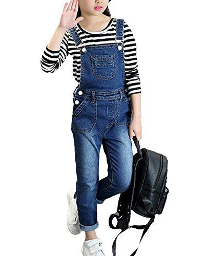 Mädchen Overall Kinder Latzhose Denim Hosen Mit Hosenträger Jeanshose One Piece Jumpsuit Wie Bild 140